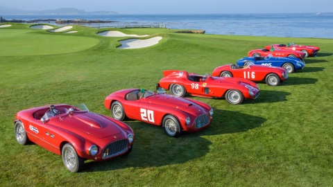 A lineup of classic Ferraris, part of the 2017 Pebble Beach Concours d'Elegance.