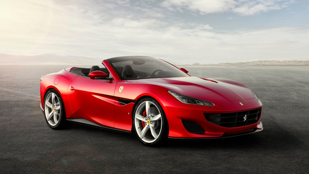 The New Ferrari Portofino in 3/4 view.