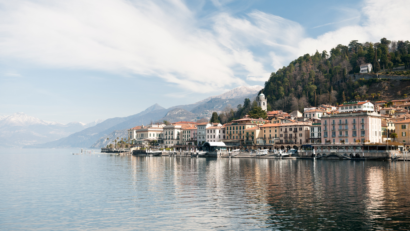 Lake Como and the hotels and residences on its shoreline.