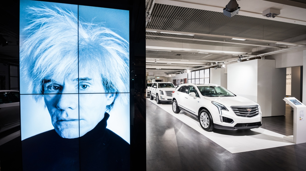 "An image of Andy Warhol and a line of Cadillacs are part of the ""Letters to Andy Warhol"" exhibition in Munich."