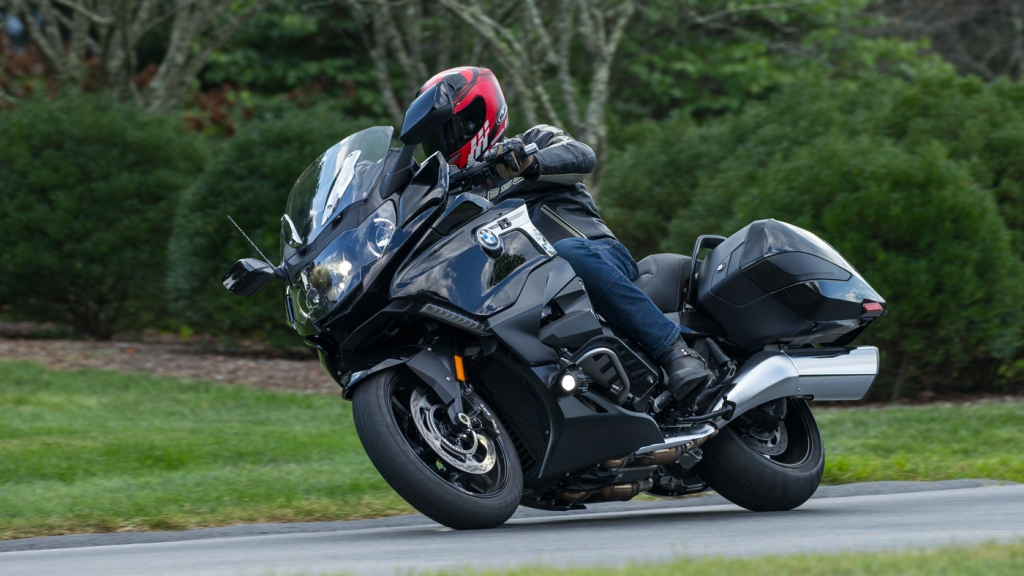 A rider on the BMW K 1600 B motorcycle.