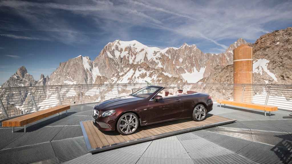 A 2018 Mercedes-Benz E400 Cabriolet on the observation deck of Pointe Helbronner in the French Alps.