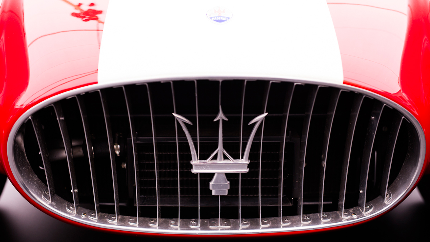 The front grille of the award-winning 1954 Maserati A6GCS/53 Berlinetta.