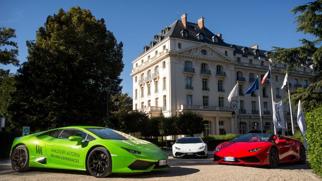 Three Lamborghinis at the Waldorf Astoria Trianon Palace Versailles.