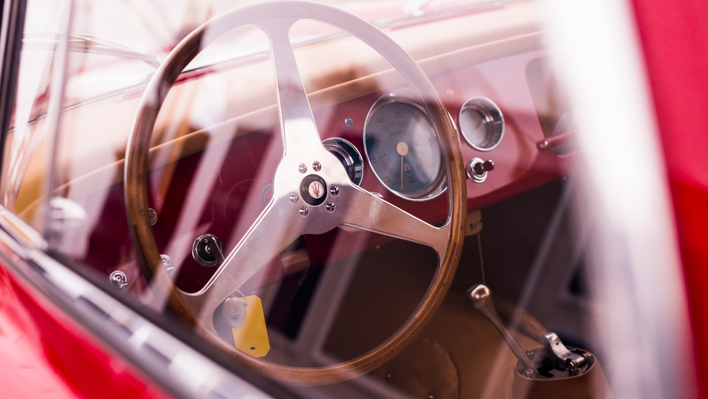 A peek into the cockpit of the award-winning 1954 Maserati A6GCS/53 Berlinetta.