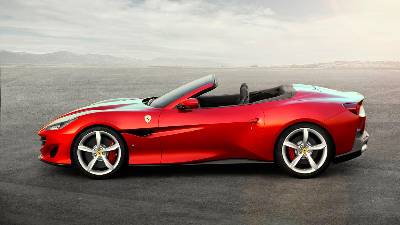 The prominent profile of the Ferrari Portofino.