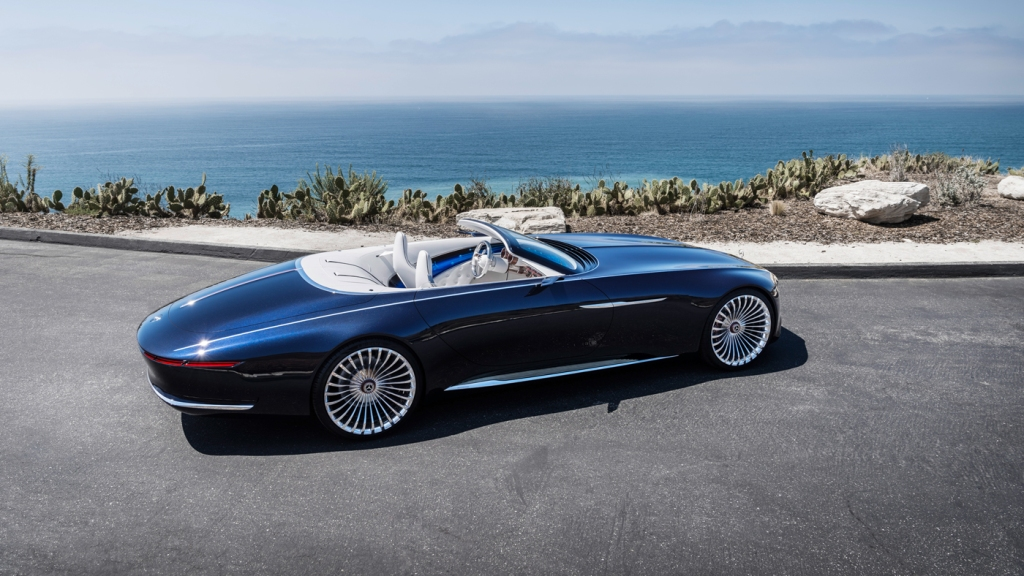 The Vision Mercedes-Maybach 6 Cabriolet Concept with the Pacific Ocean in the background.