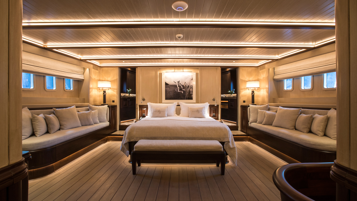 The master suite aboard the new 136-foot sailing yacht Satori.