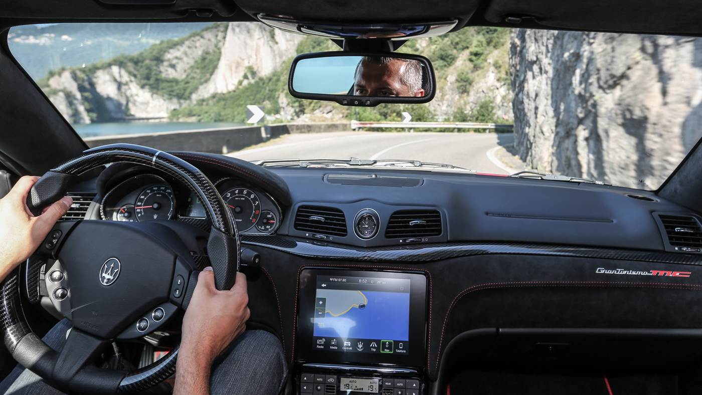 The driver's view from a 2018 Maserati GranTurismo as it tours through Italy.