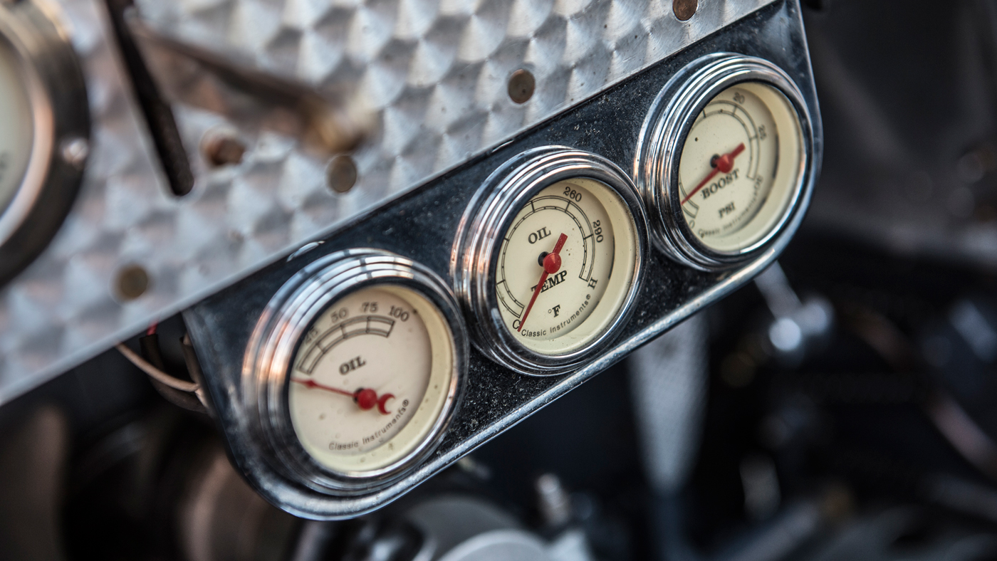 An interior detail of a Pur Sang replica of the Bugatti Type 35B.