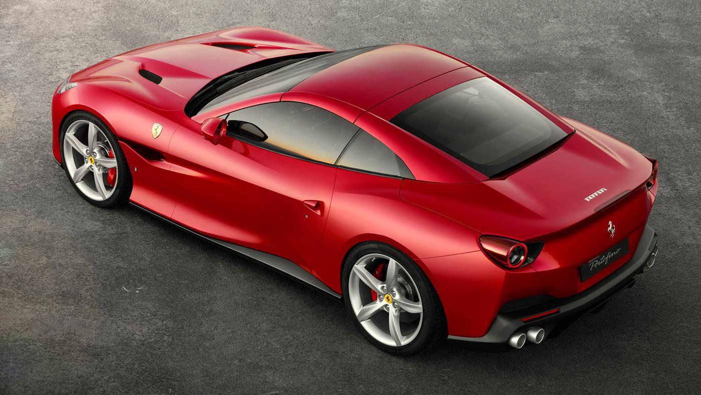 The Ferrari Portofino as viewed from above.