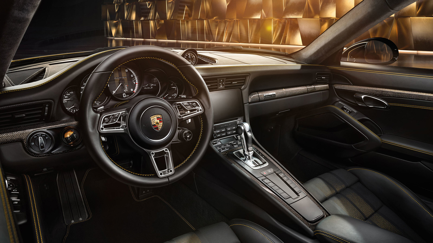 The posh driver's perspective behind the wheel of the Porsche 911 Turbo S Exclusive Series Coupe.