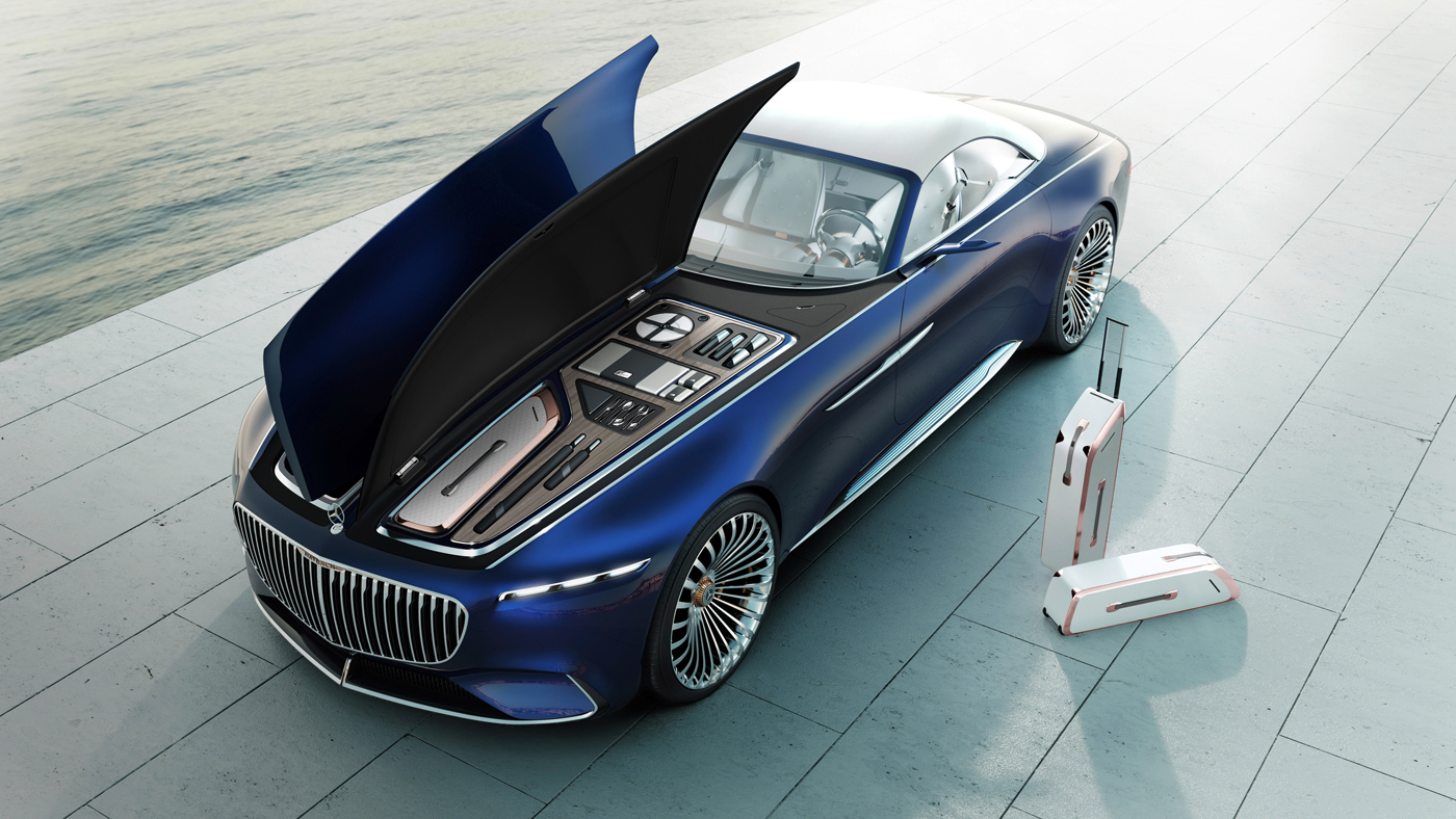 The Vision Mercedes-Maybach 6 Cabriolet Concept with luggage space displayed.