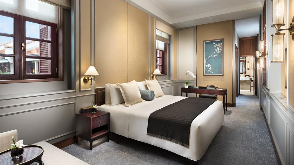 Master bedroom at the Capella Shanghai hotel.