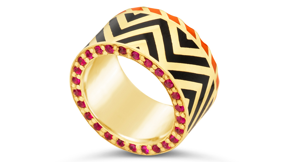 Alice Cicolini band rings in chevron pattern with lacquered black enamel.