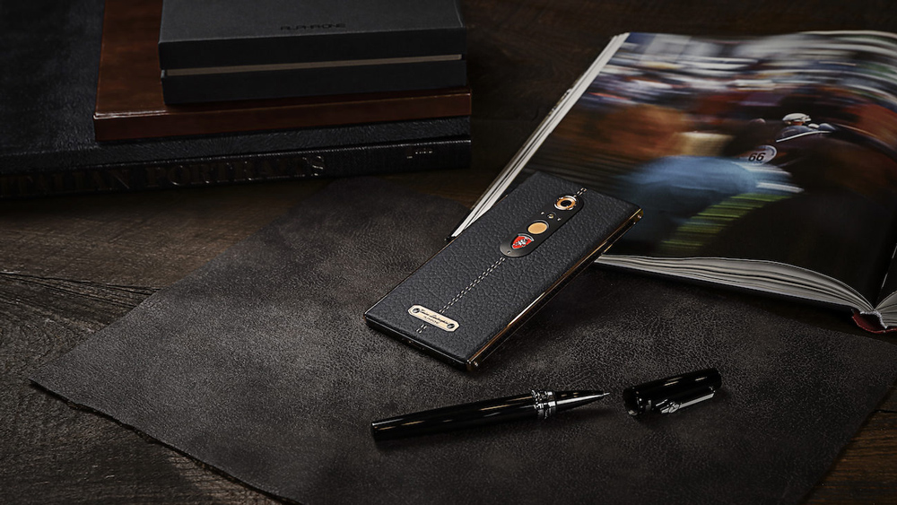 Alpha One smartphone with leather caseback