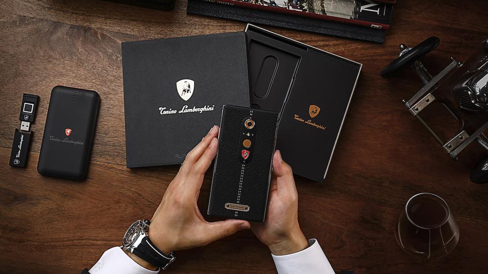 Tonino Lamborghini Alpha One smartphone with box visible