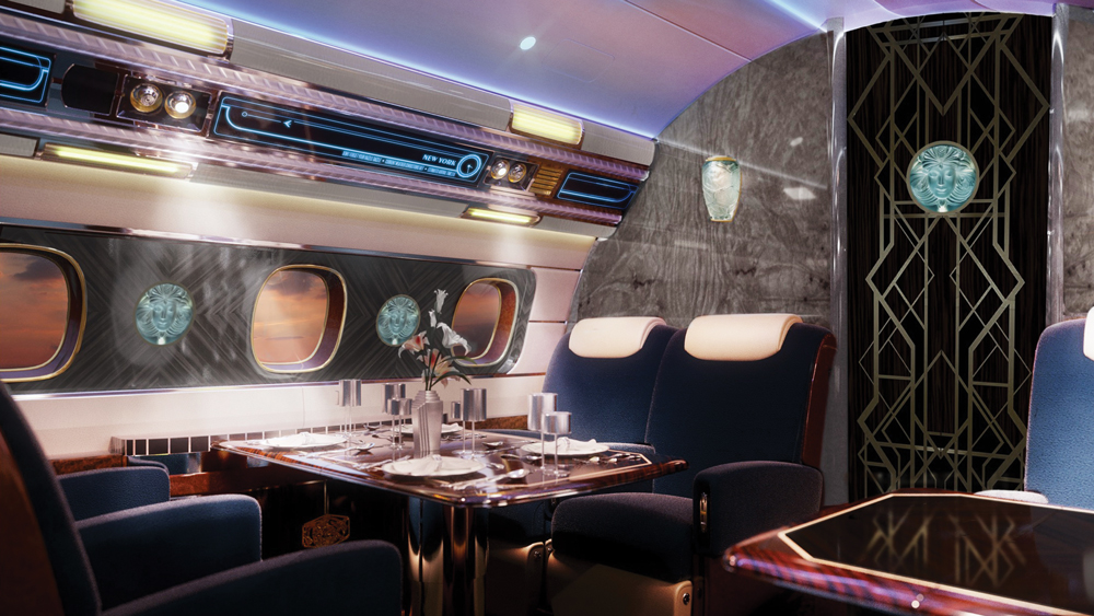 Interior of the Embraer Executive Jet inspired by art-deco design.