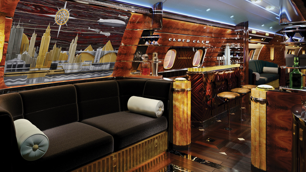 Ember Executive Jets interior with art deco elements inspired by reference the ocean liners.