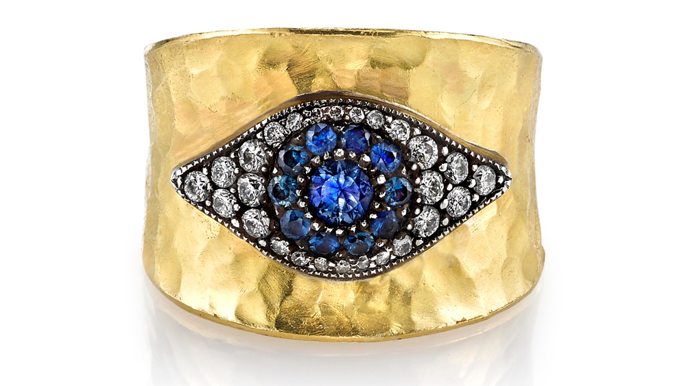 Arman Sarkisian ring in luminous hammered gold.