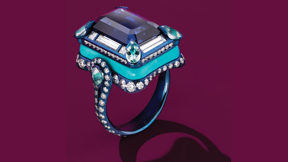 Arunashi sapphire, turquoise, diamond ring