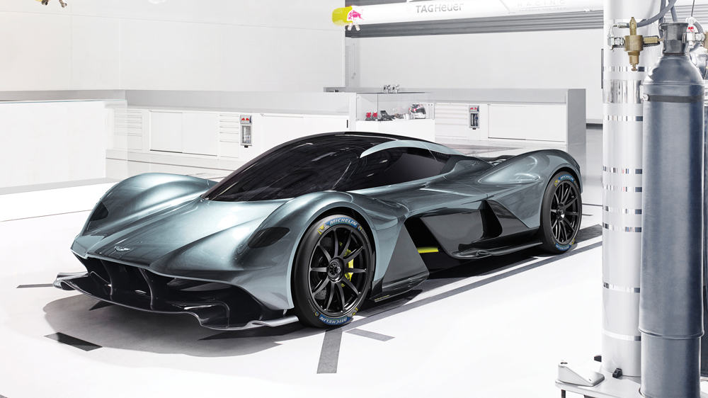 aston martin valkyrie side view of concept car