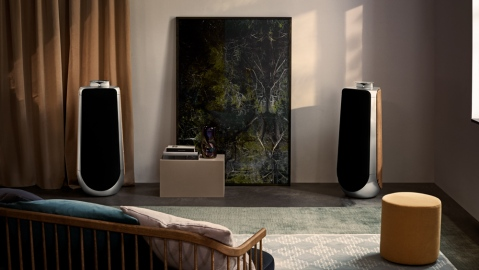 A pair of Bang & Olufsen BeoLab 50 speakers in a living room setting