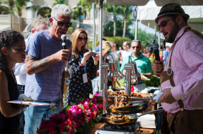 Anthony Bourdain speaking at a food festival