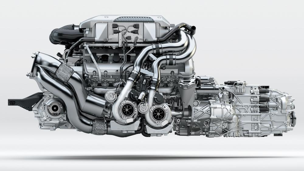 1,500 hp quad-turbocharged 16-cylinder engine.