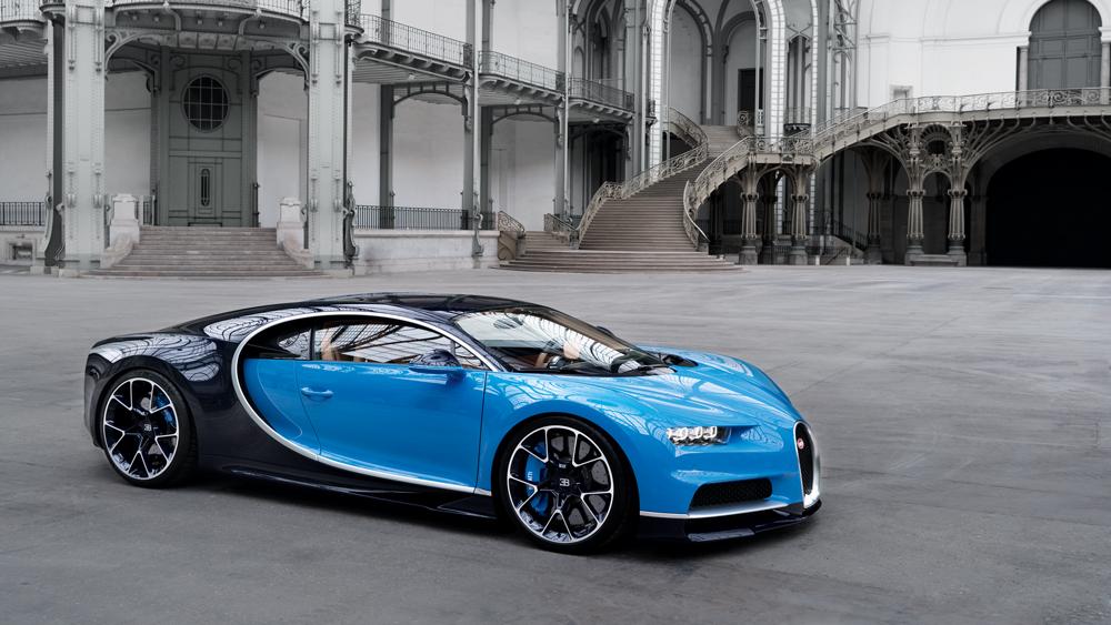 blue Bugatti Chiron exterior of car.