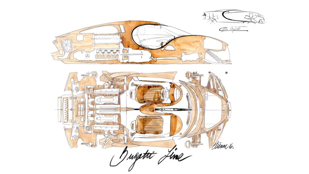 Bugatti Chiron sketches of the body build.