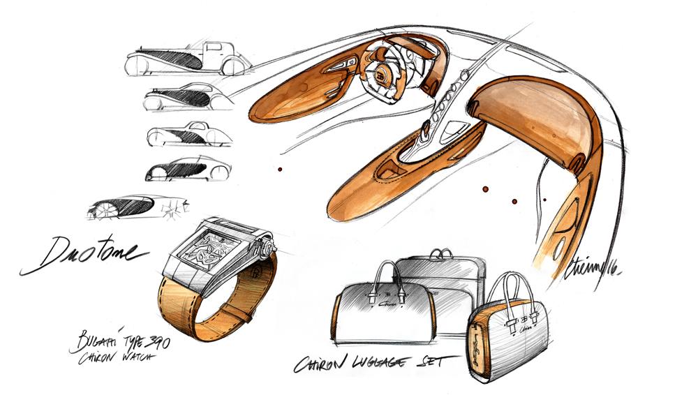 Bugatti Chiron sketches of the body build and interior.