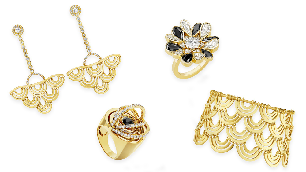 Cadar's contemporary gold jewelry designs.