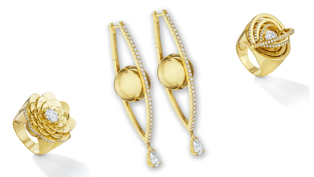 18-karat rings and earrings from Cadar's Water Collection.