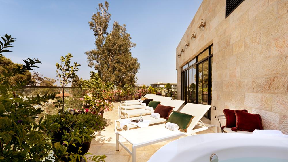 Villa Brown Jerusalem rooftop lounge.