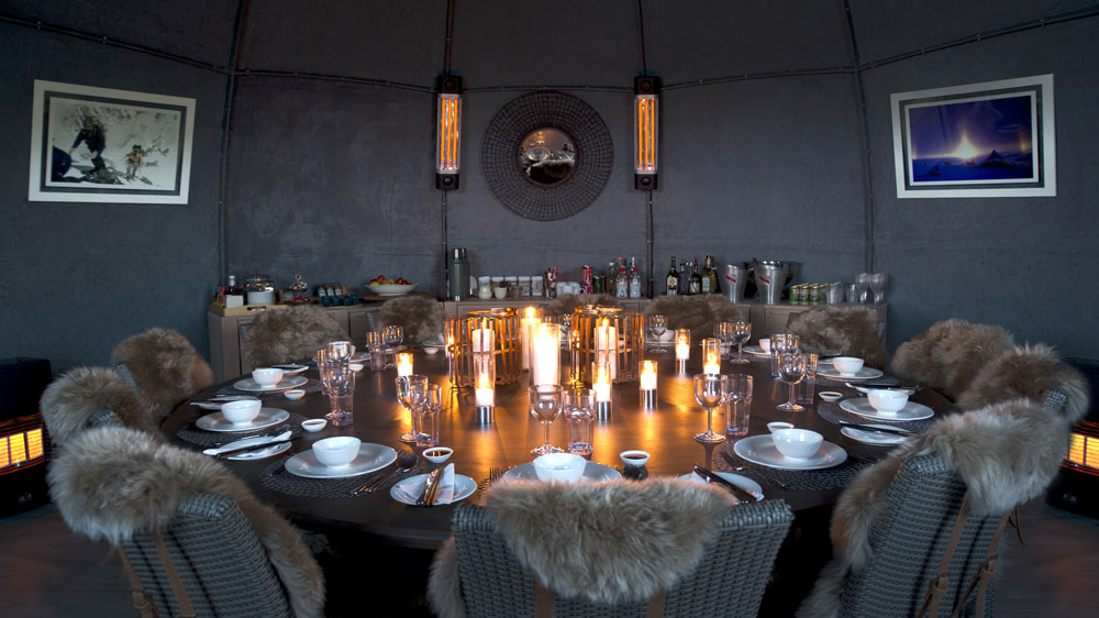 dining experience in antarctica candle-lit dinner