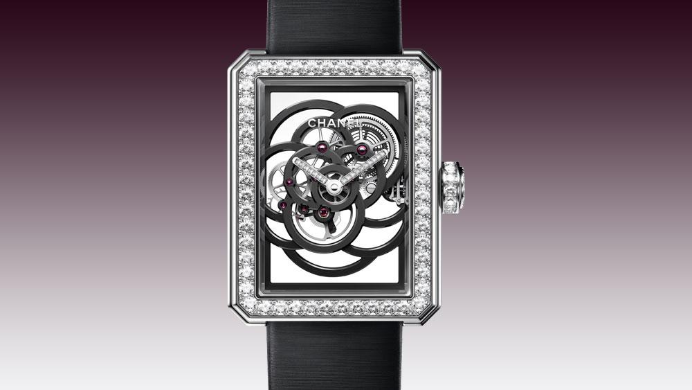 Chanel Première Camélia Skeleton face of watch