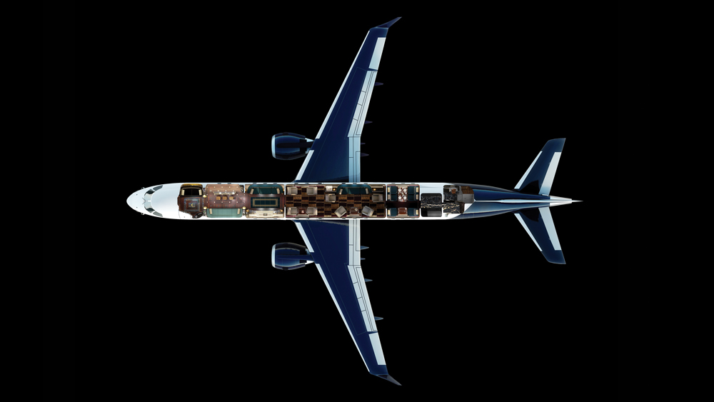 Design layout of the Embraer Executive Jet.