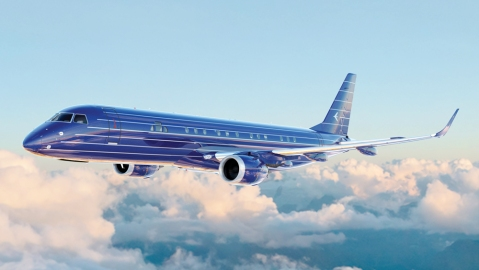 View of the Embraer Executive Jet flying in the sky