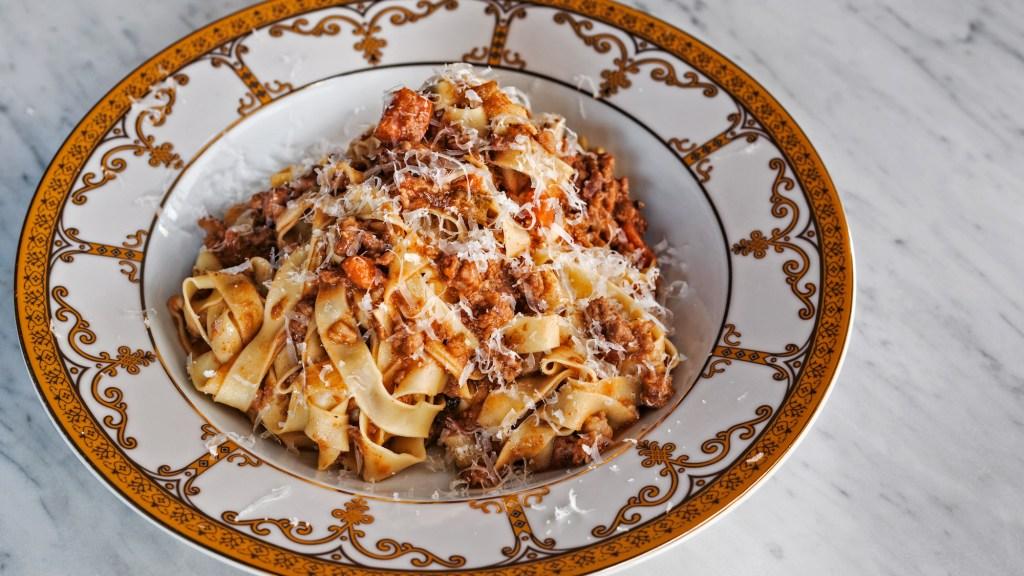 Nonna's Tagliatelle al Ragu' Bolognese: beef, pork, not too much tomato sauce