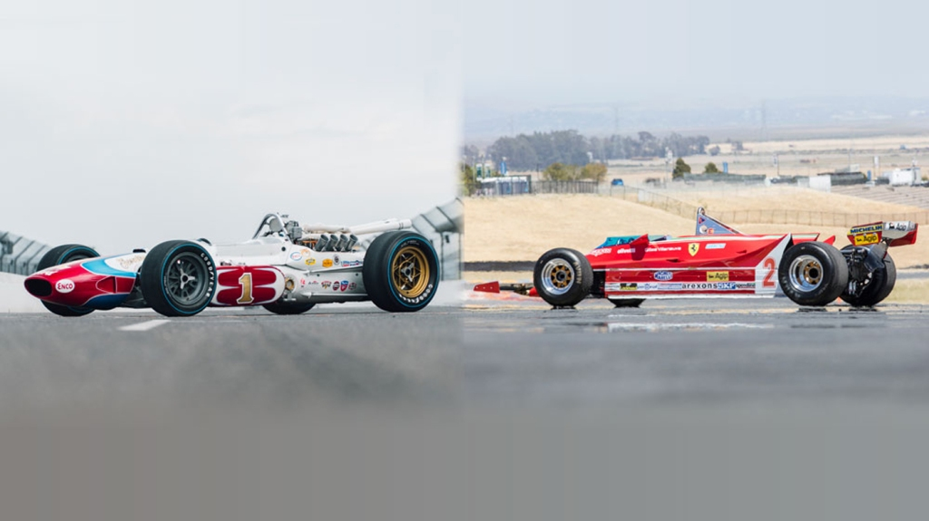 The Indy 500 Lotus and Formula 1 Ferrari driven by A.J. Foyt and Jody Scheckter, respectively.