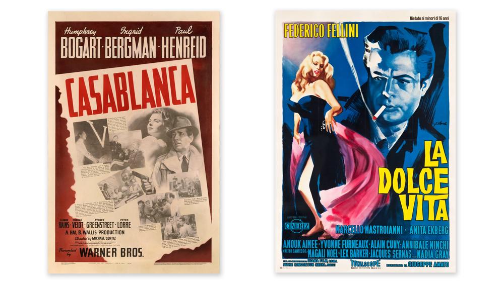 Casablanca and La Dolce Vita movie posters
