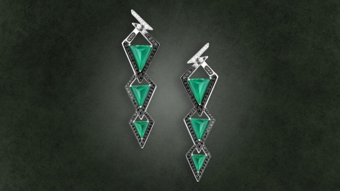 Black and green earrings