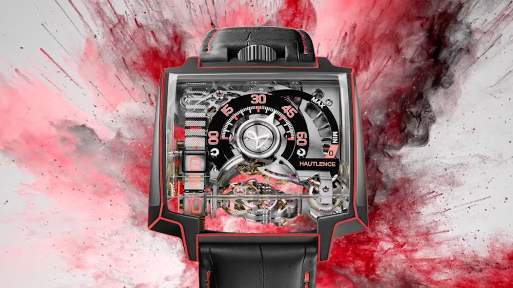 black and red Hautlence Vortex Gamma Watch
