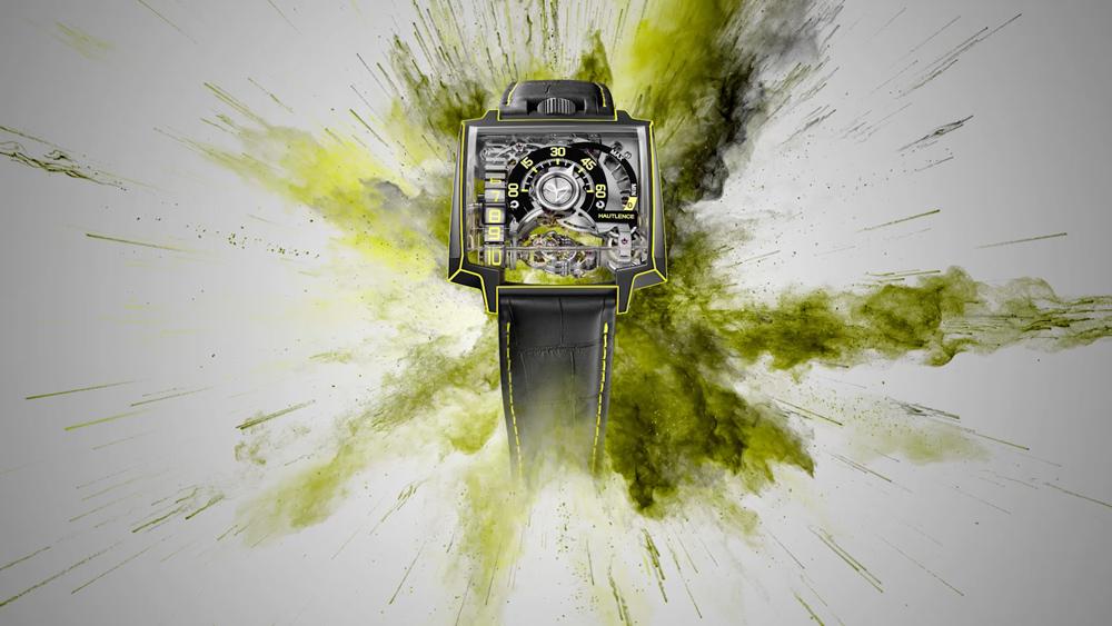 black and yellow Hautlence Vortex Gamma Watch
