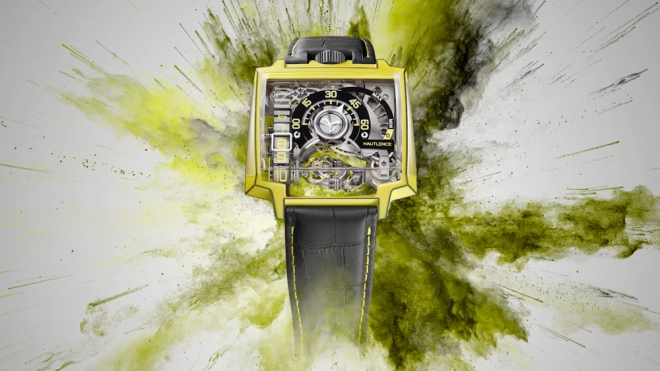 yellow and black Hautlence Vortex Gamma Watch