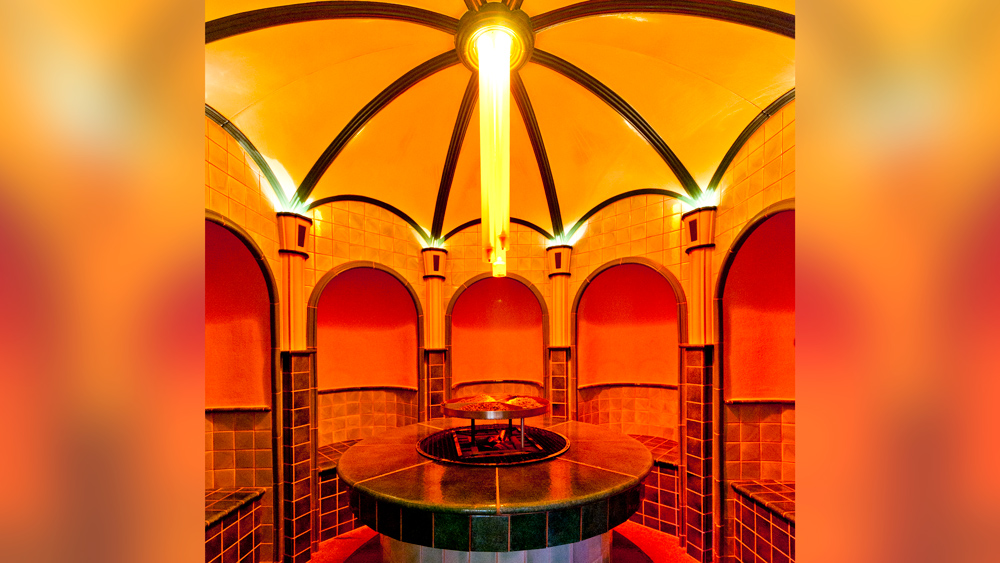 Herbal steam bath at the Grand New Spa in Le Grand Bellevue, Switzerland.