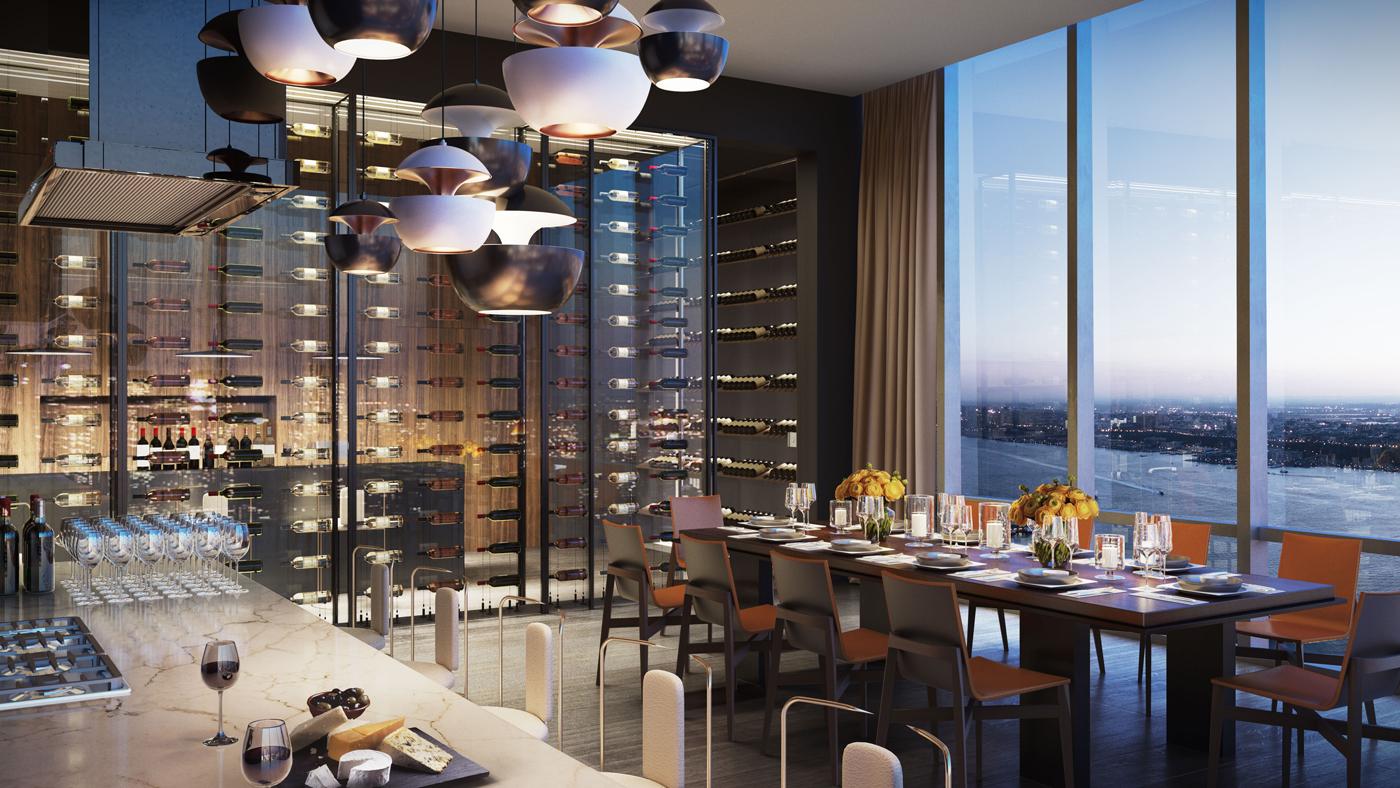Wine-tasting room and gigantic wine vault Fifteen Hudson Yards wine room.