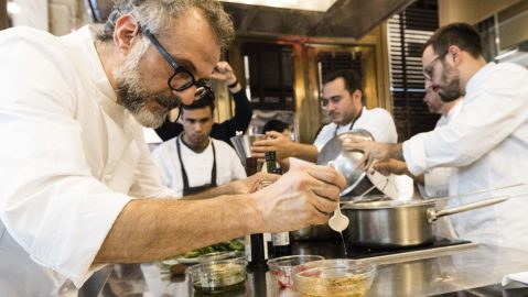 Massimo Bottura Plating a dish.