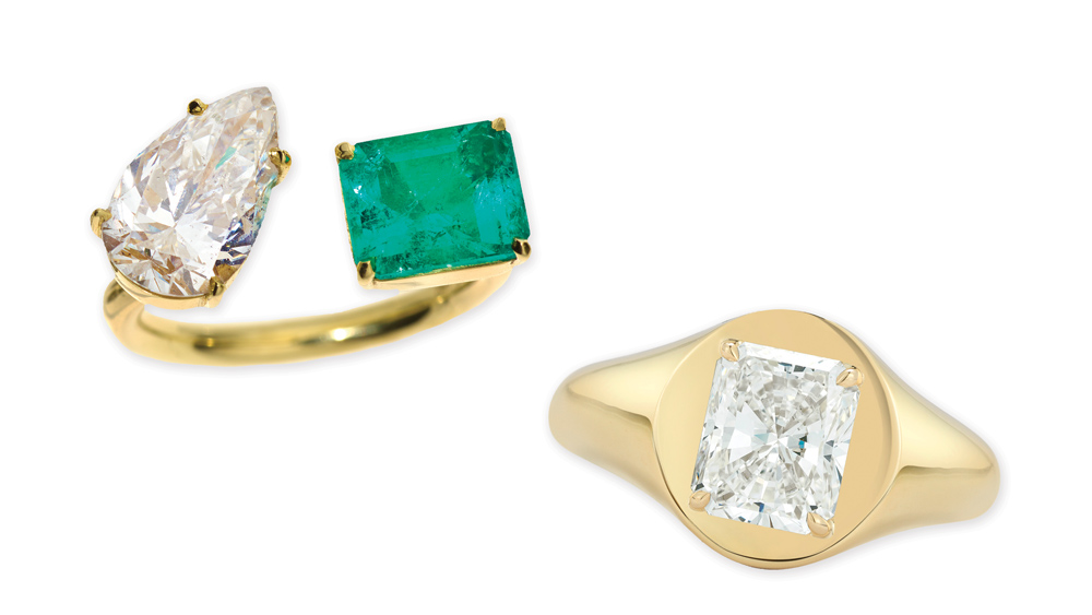 Fresh, modern pieces such as gold rings with diamonds from Jemma Wynne.